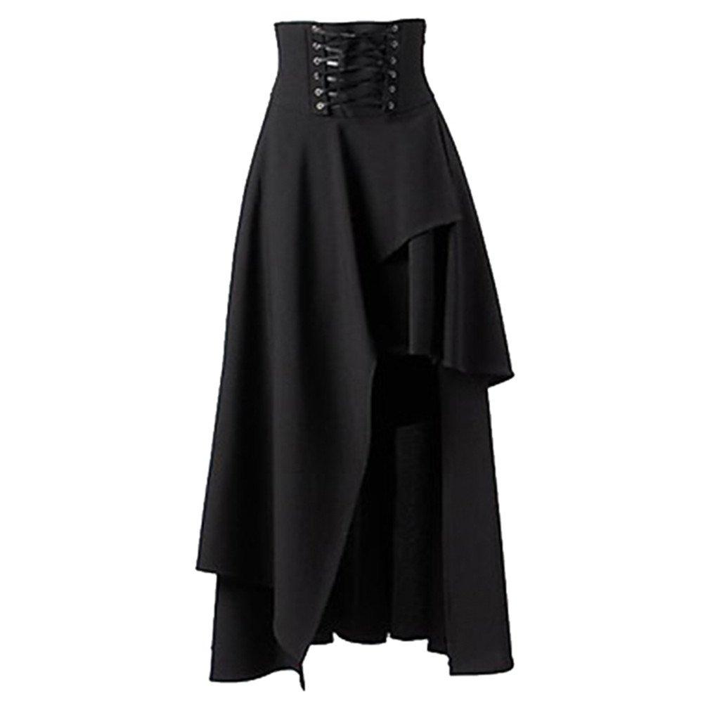 Strap Black Skirts Female High Waist Irregular Gothic Skirts Black XL