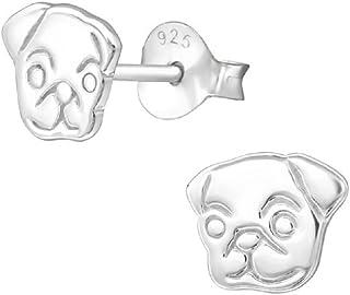 Laimons–Orecchini bambina bambini bambini gioielli cane opaco lucido Carlino in Argento Sterling 925