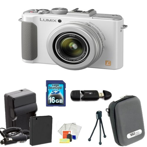 Panasonic Lumix DMC-LX7 Digital Camera (White) Kit Includes: 16GB Memory Card, Memory Card Reader, Extended Life Replacement Battery, Rapid Travel Charger, Table Top Tripod, LCD Screen Protectors, Cleaning Kit & Case by Panasonic