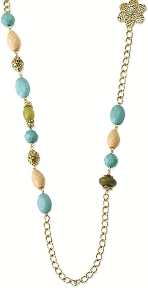 1928 Jewelry Gold-Tone Enamel Fancy Lobster Closure Teal Green and Cream Acrylic Beads 38inch Necklace