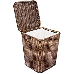 BirdRock Home Rattan Peel Laundry Hamper with Lid | Removable Canvas Laundry Bag | Machine Washable Canvas Lining | Spacious Interior | Organizer | Handles | Woven | Large