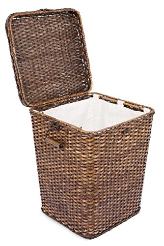 BirdRock Home Rattan Peel Laundry Hamper with Lid | Removable Canvas Laundry Bag | Machine Washable Canvas Lining | Spacious Interior | Organizer | Handles | Woven | Large (Hampers Rattan)