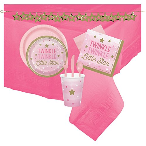 Pink Twinkle Twinkle Little Star 140pc Party Supply Pack for 16 Guests! Baby Shower/Birthday Bundle Includes - Plates, Napkins, Cups, Cutlery, Table Cover and Confetti Garland!