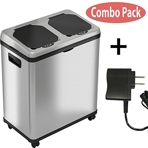iTouchless 16 Gallon Touchless Trash Can and Recycle Bin Combo Unit with AC Adapter, Stainless Steel Automatic Sensor Kitchen Garbage Receptacle, 2 X 8 Gallon Removable Buckets with Handles