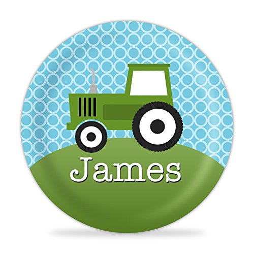 Green Tractor Personalized Plate - Kids Farm Melamine Plate by PurpleBerryInk