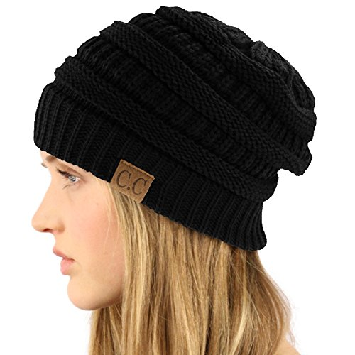 Unisex Winter Chunky Soft Stretch Cable Knit Slouch Beanie Skully Hat (Black Toque)