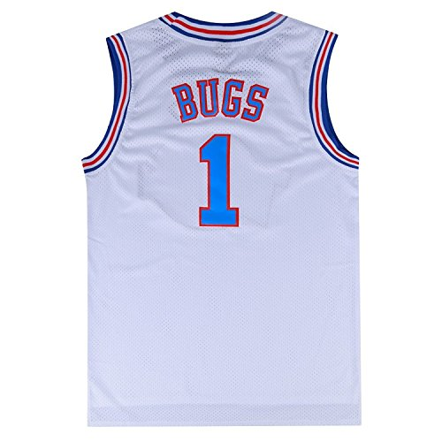 Looney Tune Costumes (Mens Basketball Jersey Bugs Bunny #1 Space Jam Jersey (White,)