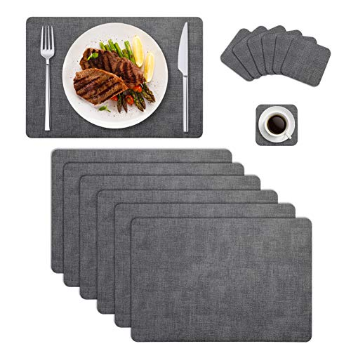 Searching Roads Faux Leather Placemats Set of 6 with Coasters, Heat Resistant,Waterproof, Wipeable Place Mats for Dining…