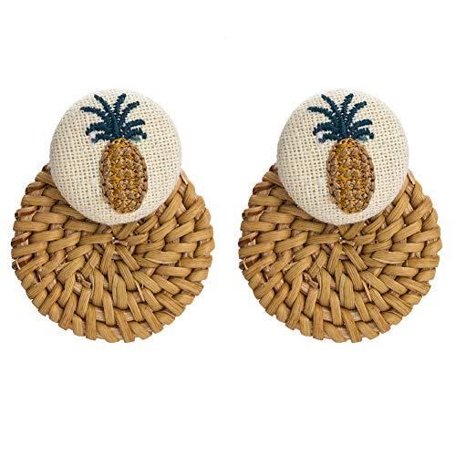 (Riceei Fashion Pineapple Stud Earrings for Women Boho Exaggerated Rattan Woven flannel Drop Long Earrings Bohemian Beach Ethnic Style Handmade Dangle Chandelier Big Earring Jewelry (1 Pair))
