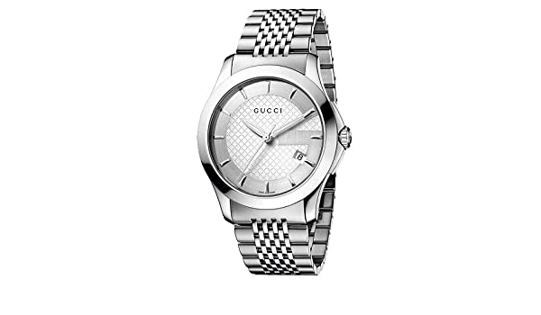 fac41084a60 Amazon.com  GUCCI Men s YA126401 G Timeless Silver Dial Watch  Gucci   Watches