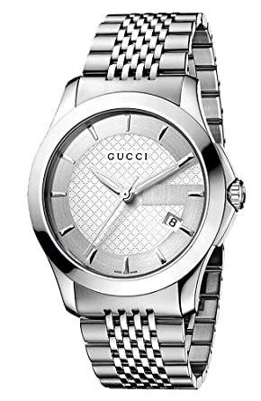8b13ba609b0 Image Unavailable. Image not available for. Color  GUCCI Men s YA126401 G  Timeless Silver Dial Watch