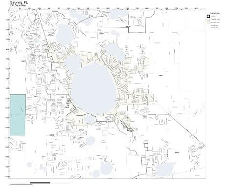 Amazon Com Zip Code Wall Map Of Sebring Fl Zip Code Map Laminated