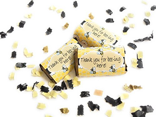 Bumble Bee Baby Shower Miniatures Candy Bar Wrapper Stickers (Candy Shower Wrappers Miniature Baby)