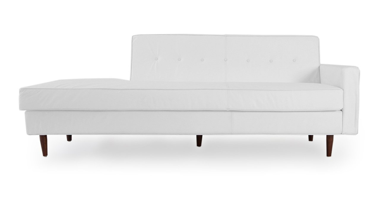 Kardiel Eleanor Mid-Century Right Modern Sofa, Arctic White Aniline Premium Leather