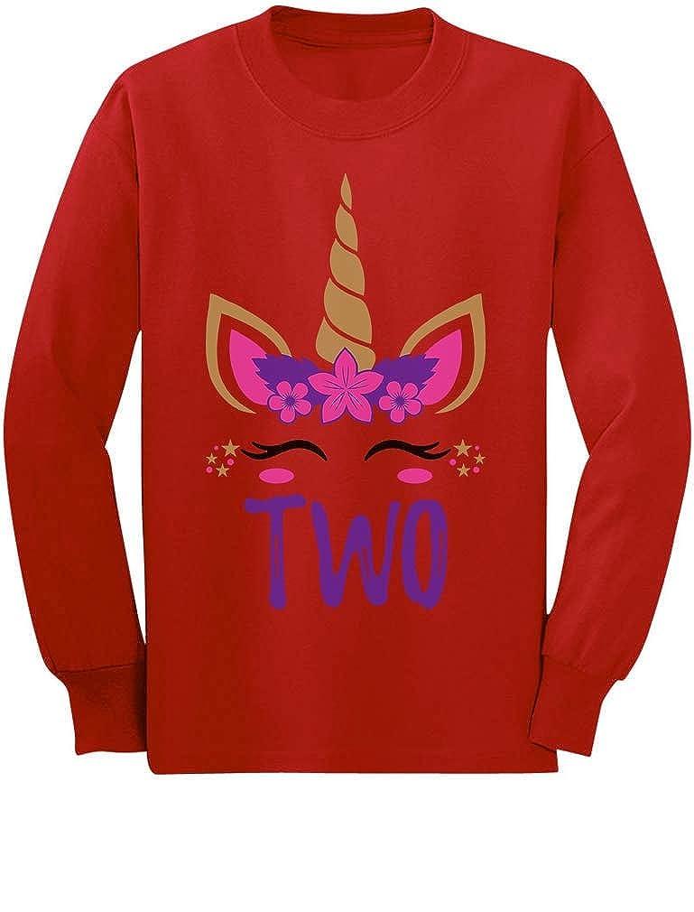 2 Year Old Girl Unicorn 2nd Birthday Toddler//Kids Long Sleeve T-Shirt