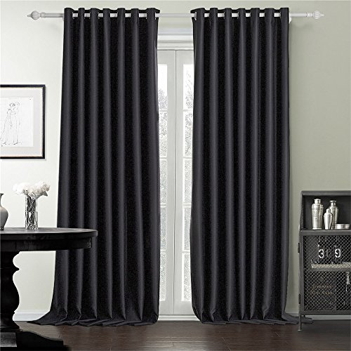 IYUEGO Wide Curtains 120Inch-300Inch for Large Windows Black Queen Casual Grommet Top Blackout Curtains Drapes With Multi Size Custom 200″ W x 84″ L (One Panel) For Sale