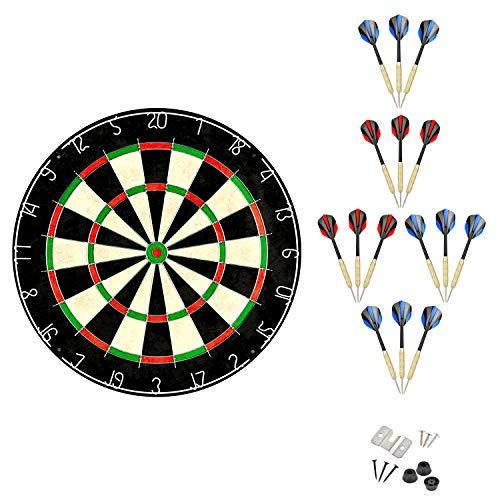 Linkvisions Sisal/Bristle Dartboard with Staple-Free Bullseye, Size 17.8