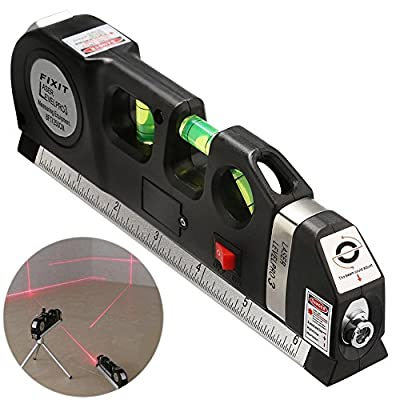 BRILLIFE Laser Leveler Spirit Level Line Lasers Ruler,Gradienter Horizontal Ruler Measure Line Laser 8ft Adjusted Standard & Metric Scale Measure Tape Ruler