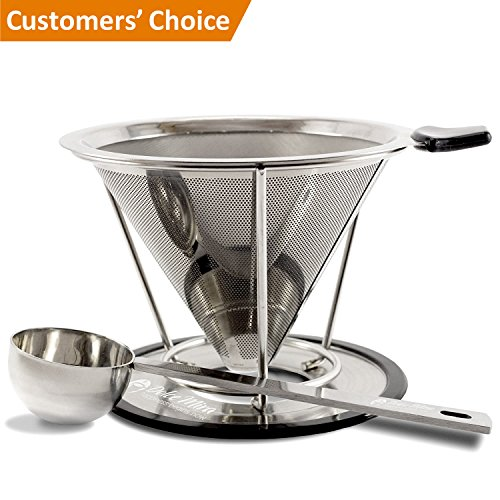 Pour Over Coffee Maker - Clever Coffee Dripper - Stainless Steel Reusable Drip Coffee Filter with Spoon