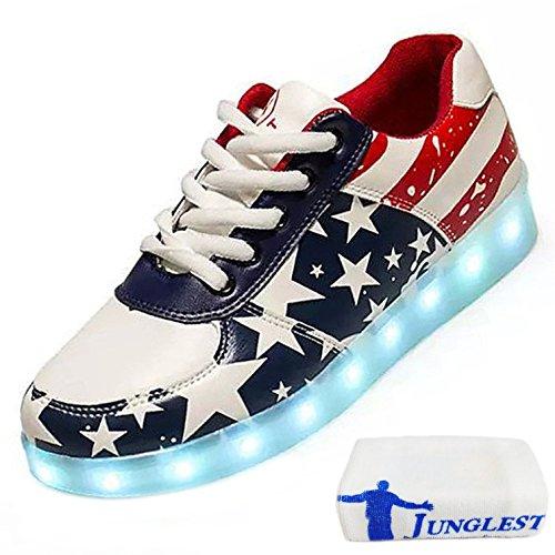 (Present:kleines Handtuch)JUNGLEST® (TM) 7 Farbe USB Aufladen LED Leuchtend Sport Schuhe Sportschuhe Sneaker Turnschuhe für Unis Mehrfarbig Stern
