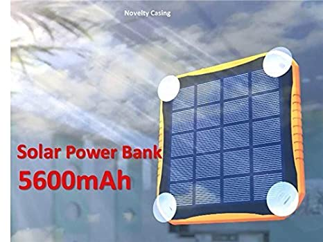 Amazon.com: Nucharger S5600 Solar Charger 5600mAh 2USB Input 2A Output 2.1A Power Bank Portable Dustproof Shatter-Resistant Fire-Proof LED Lighting ...