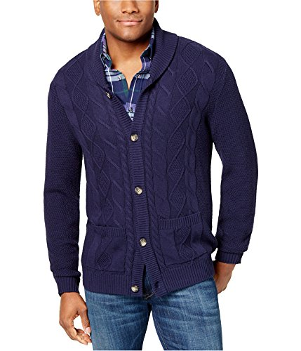 - Club Room Mens Cable Knit Cardigan Sweater Blue S