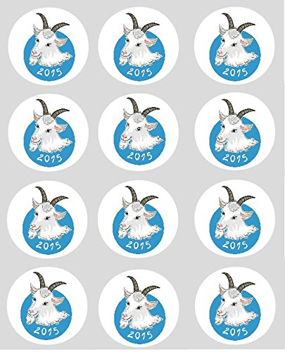 12 Chinese New Year 2015 Blue Sheep Ram Goat Cupcake Toppers - 40mm Precut Rice Paper Cupcake Decorations (Chinese New Year Of The Goat Or Sheep)