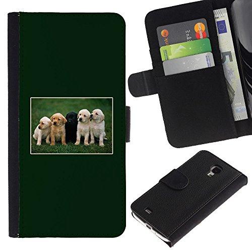 LASTONE PHONE CASE / Lujo Billetera de Cuero Caso del tirón Titular de la tarjeta Flip Carcasa Funda para Samsung Galaxy S4 Mini i9190 MINI VERSION! / Green Retriever Labrador Puppies Black