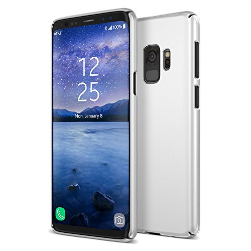 (Maxboost Galaxy S9 Case mSnap Series Samsung Galaxy S9 Case Anti-Slip Matte Coating for Excellent Grip/Scratch Resistant Thin Snap Protective Hard Phone Covers 2018 [Silver])