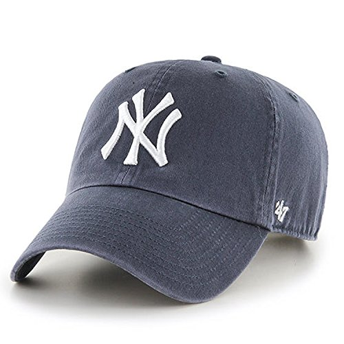 Baseball Mlb Hat - 47 Brand New York Yankees Clean Up MLB Dad Hat Cap Charcoal/White, One Size