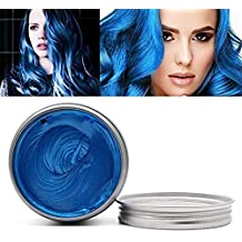 Temporary Hair Wax Hair Color Wax Instant Hairstyle Mud Cream 4.23OZ Natural Hair Coloring Wax Material Disposable Hair Styling for Cosplay, Party, Masquerade, Halloween.etc(Blue)
