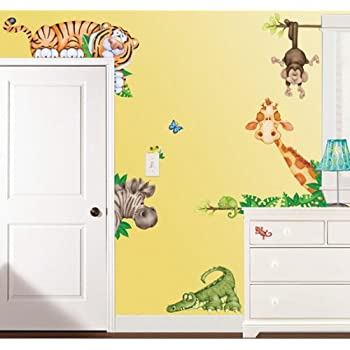 Amazon.com: In The Jungle Wildlife Animal Stickers Wall Decals ...