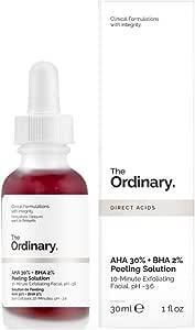 The Ordinary AHA 30% + BHA 2% Peeling Solution 30ml - 10 mins Exfoliating Mask Facial Serum