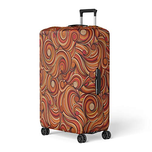 - Pinbeam Luggage Cover Orange Batik Doodle Doodling Pattern Brown Swirl Abstract Travel Suitcase Cover Protector Baggage Case Fits 22-24 inches
