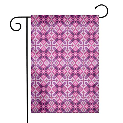 duommhome Abstract Garden Flag Geometric Tiles Square and Rectangles Floorboard Style Modern Art Premium Material W12 x L18 Fuchsia Hot Pink Pale Mauve