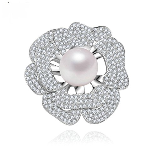 Hollycraft Jewelry Costumes (Beydodo White Gold Plated Brooch Pin For Women Pearl Flower Corsage Bouquet Cubic Zirconia Cluster Set)