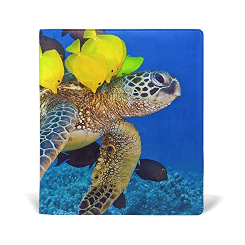 Wildlife Nature Sea Fish Turtle Leather Stretchable Book Covers Durable Reusable Nylon Fabric Hard Cover Schoolbooks Notebooks Textbooks (9x11 inch)