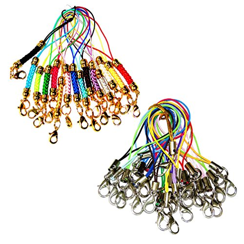 Lontenrea 15pcs Lanyard Cord Lobster Clasp + 20pcs Cell Phone Lanyard Cords Strap for Trinkets, Charms, Crystal, Keyring, Badge holder or handmade jewellery DIY making accessories (15pcs Gold + 20pcs Strap)