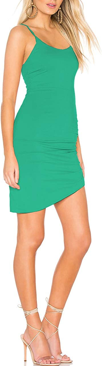 CMZ2005 Womens Elegant Spaghetti Straps Mini Dress Sleeveless Bodycon Party Dress 71789