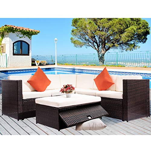 Merax Outdoor Patio Furniture Set PE Rattan Sectional Garden Sofa with Storage Table and 2 Pillows (Black Wicker+Beige Cushions)