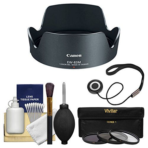 Canon EW-83M Lens Hood for EF 24-105mm f/3.5-5.6 IS STM with 3 UV/CPL/ND8 Filters + Accessory Kit