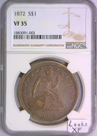 1872 P Seated Liberty Dollar VF-35 NGC