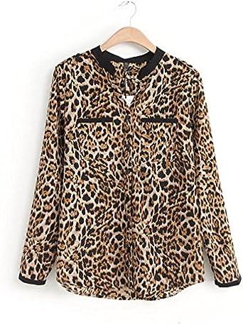 Overdose Nuevas Mujeres Leopardo Manga Larga Camisa De Gasa Blusas Casuales Delgadas SeñOra Top Tops SeñOras: Amazon.es: Ropa y accesorios