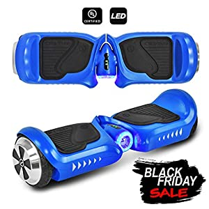 CHO Electric Self Balancing Dual Motors Scooter Hoverboard with Built-in Speaker and LED Lights - UL2272 Certified (4.5 Inch Wheels (No Speaker) Blue)