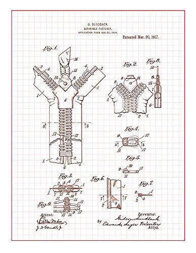 Zipper Patent Print Art Poster Red Grid  M12936