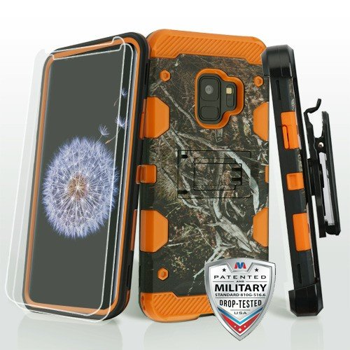 Yellow/Black Vine/Orange 3-in-1 Storm Tank Hybrid Protector Cover Combo (with Black Holster)(Twin Screen Protectors)[Military-Grade Certified](with Package) for Samsung Galaxy S9