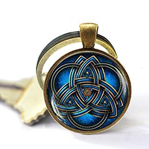 Blue triquetra Keychain,Triquetra Keychain,Celtic triangle Keychain,Celtic knot Celtic art Keychain, Trinity Symbol Trinity Knot Keychain
