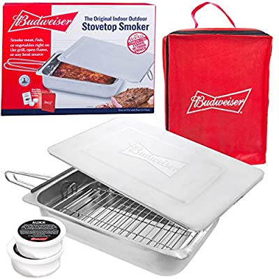 Budweiser Stovetop Smoker - The Original Stainless Steel Smoker with Wood Chips - Works over any heat source, indoor or outdoor from Camerons Products