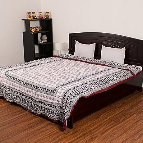 ECraftIndia Designer Brown Floral Block Print Double Bed Jaipuri 100 Cotton Quilt