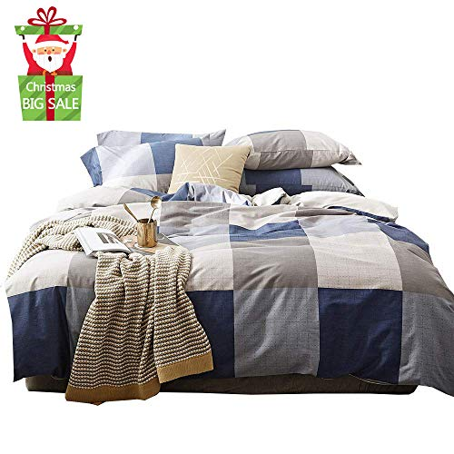 XUKEJU 3 PCS Washed Cotton Bedding Checked Buffalo Check Classic Reversible Duvet Cover Set Gingham Plaid Geometric Pattern Printed with Envelope Pillowcases (Classic Plaid Quilt Cover Queen Size)
